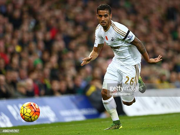 Kyle Naughton of Swansea City in action during the Barclays Premier League match between Norwich City and Swansea City at Carrow Road on November 7...