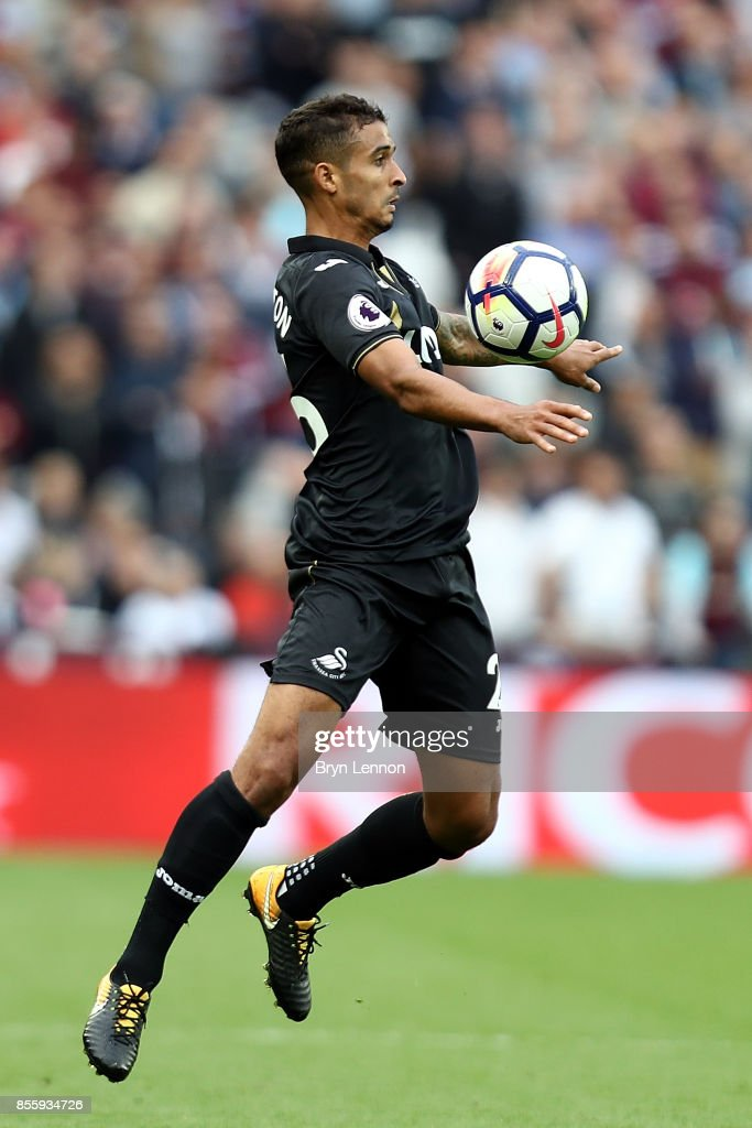 Kyle Naughton of Swansea City in action during the Premier League match between West Ham United and Swansea City at London Stadium on September 30, 2017 in London, England.