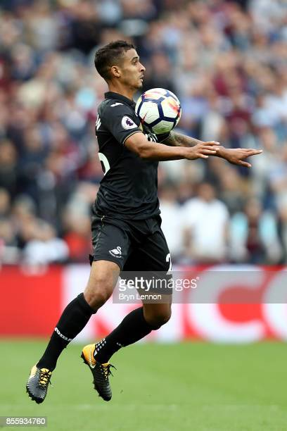 Kyle Naughton of Swansea City in action during the Premier League match between West Ham United and Swansea City at London Stadium on September 30...