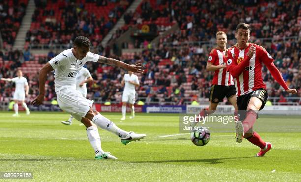 Kyle Naughton of Swansea City scores his sides second goal during the Premier League match between Sunderland and Swansea City at Stadium of Light on...