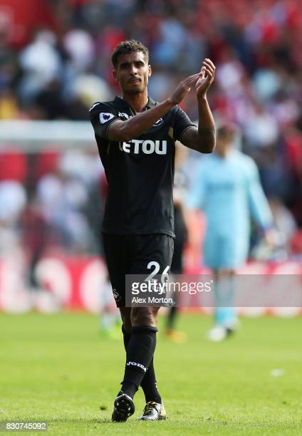 Kyle Naughton of Swansea City shows appreciation to the fans after the Premier League match between Southampton and Swansea City at St Mary's Stadium...
