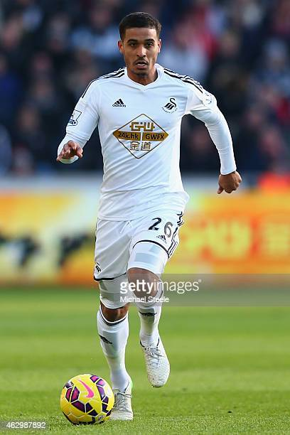 Kyle Naughton of Swansea during the Barclays Premier League match between Swansea City and Sunderland at the Liberty Stadium on February 7 2015 in...