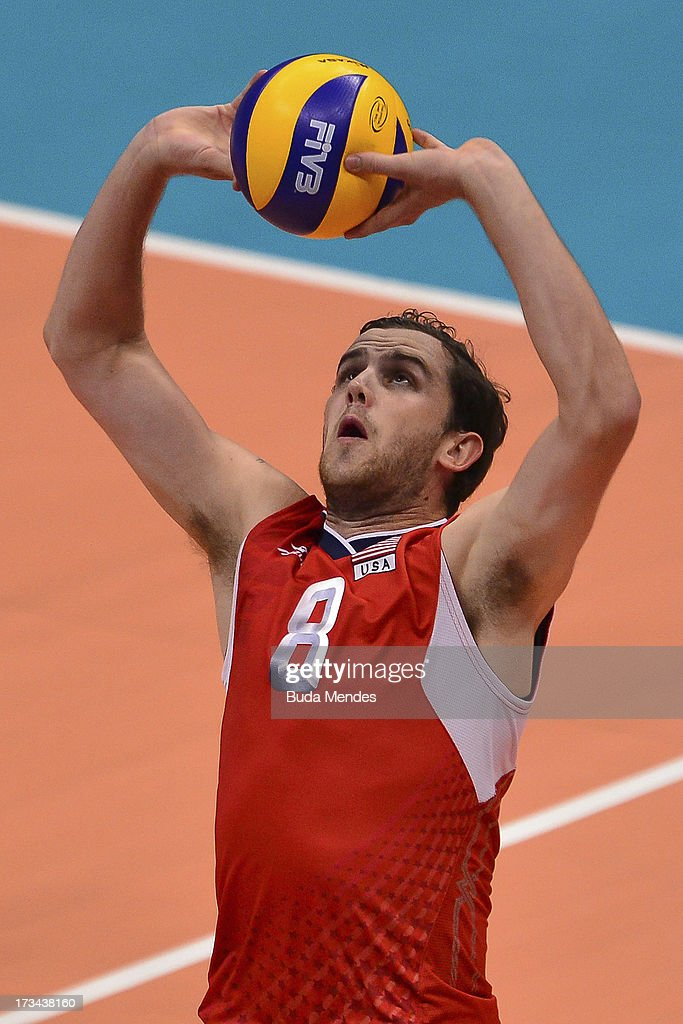 Kyle of USA in action against Brazil during a match between Brazil and USA as part of the FIVB Volleyball World League 2013 at the Maracanazinho gymnasium on July 14, 2013 in Rio de Janeiro, Brazil.