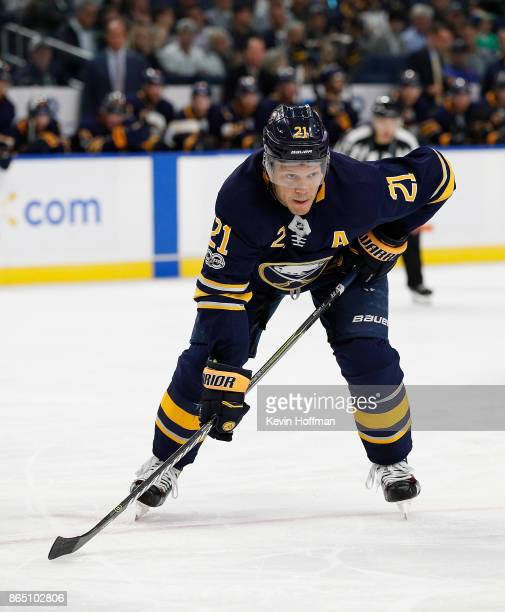 Kyle Okposo of the Buffalo Sabres during the game against the Vancouver Canucks at the KeyBank Center on October 20 2017 in Buffalo New York