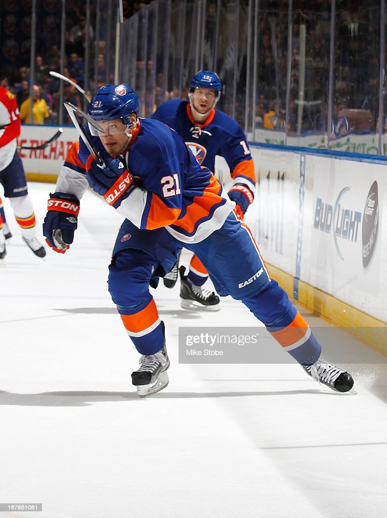 Kyle Okposo #21 of the New York Islanders skates against the Florida Panthers at Nassau Veterans Memorial Coliseum on April 16, 2013 in Uniondale, New York. The New York Islanders defeated the Florida Panthers 5-2.
