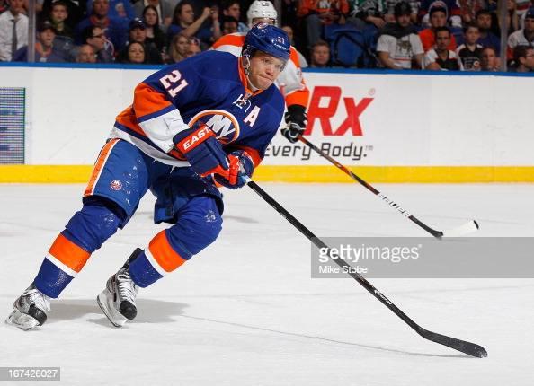 Kyle Okposo of the New York Islanders skates against the Philadelphia Flyers at Nassau Veterans Memorial Coliseum on April 9 2013 in Uniondale New...