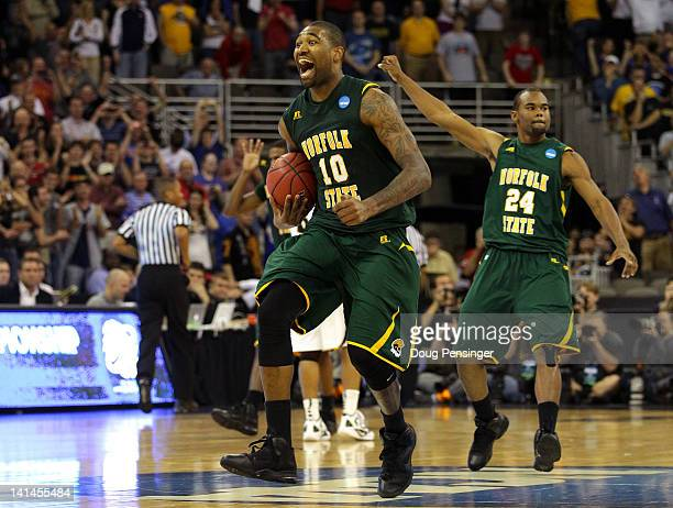 Kyle O'Quinn and Brandon Wheeless of the Norfolk State Spartans celebrate after they won 8684 against the Missouri Tigers during the second round of...