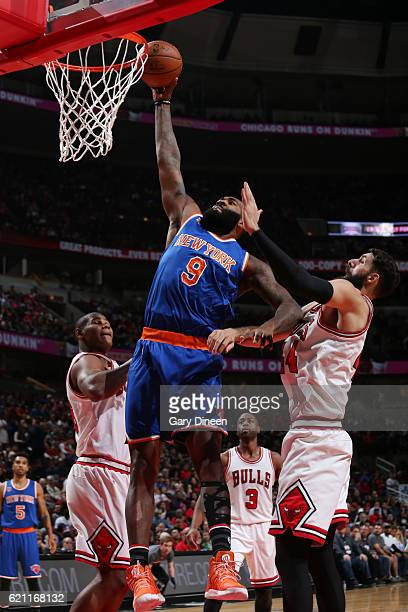 Kyle O'Quinn of the New York Knicks goes up for a dunk during a game against the Chicago Bulls on November 4 2016 at the United Center in Chicago...