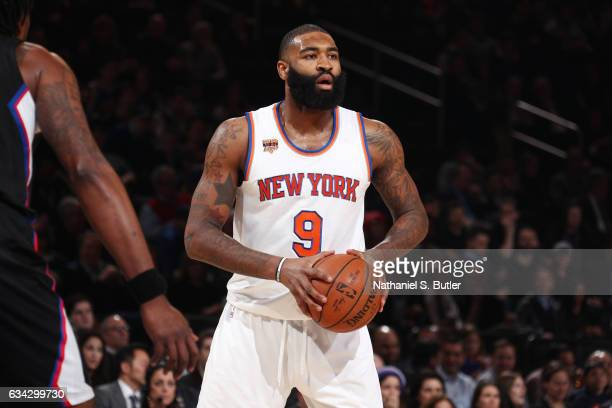 Kyle O'Quinn of the New York Knicks handles the ball against the LA Clippers during the game on February 8 2017 at Madison Square Garden in New York...