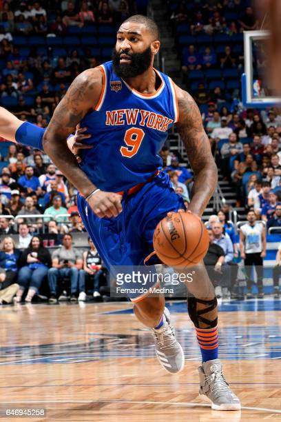 Kyle O'Quinn of the New York Knicks handles the ball during a game against the Orlando Magic on March 1 2017 at Amway Center in Orlando Florida NOTE...