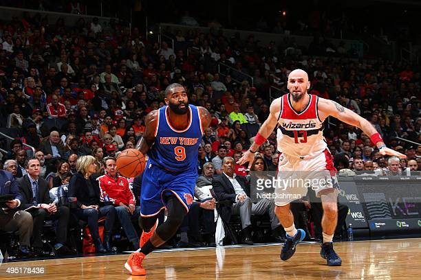 Kyle O'Quinn of the New York Knicks handles the ball Washington Wizards during the game on October 31 2015 at Verizon Center in Washington DC NOTE TO...