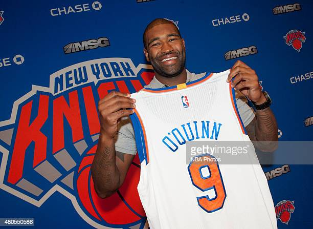 Kyle O'Quinn of the New York Knicks is introduced to the public during a press conference on July 10 2015 at the Wynn Resort in Las Vegas Nevada NOTE...