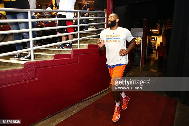 Kyle O'Quinn of the New York Knicks runs on the court before the game against the Cleveland Cavaliers on October 25 2016 at Quicken Loans Arena in...