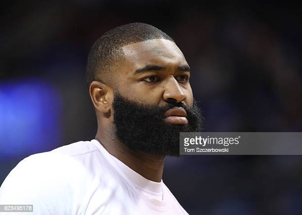 Kyle O'Quinn of the New York Knicks warms up before the start of NBA game action against the Toronto Raptors at Air Canada Centre on November 12 2016...
