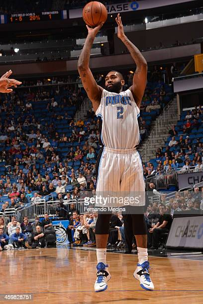 Kyle O'Quinn of the Orlando Magic attempts a shot during a game against the Golden State Warriors on December 31 2013 at Amway Center in Orlando...