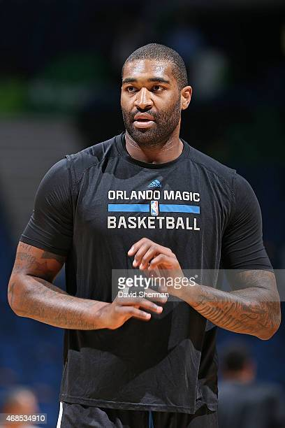 Kyle O'Quinn of the Orlando Magic before the game against the Minnesota Timberwolves on April 3 2015 at Target Center in Minneapolis Minnesota NOTE...