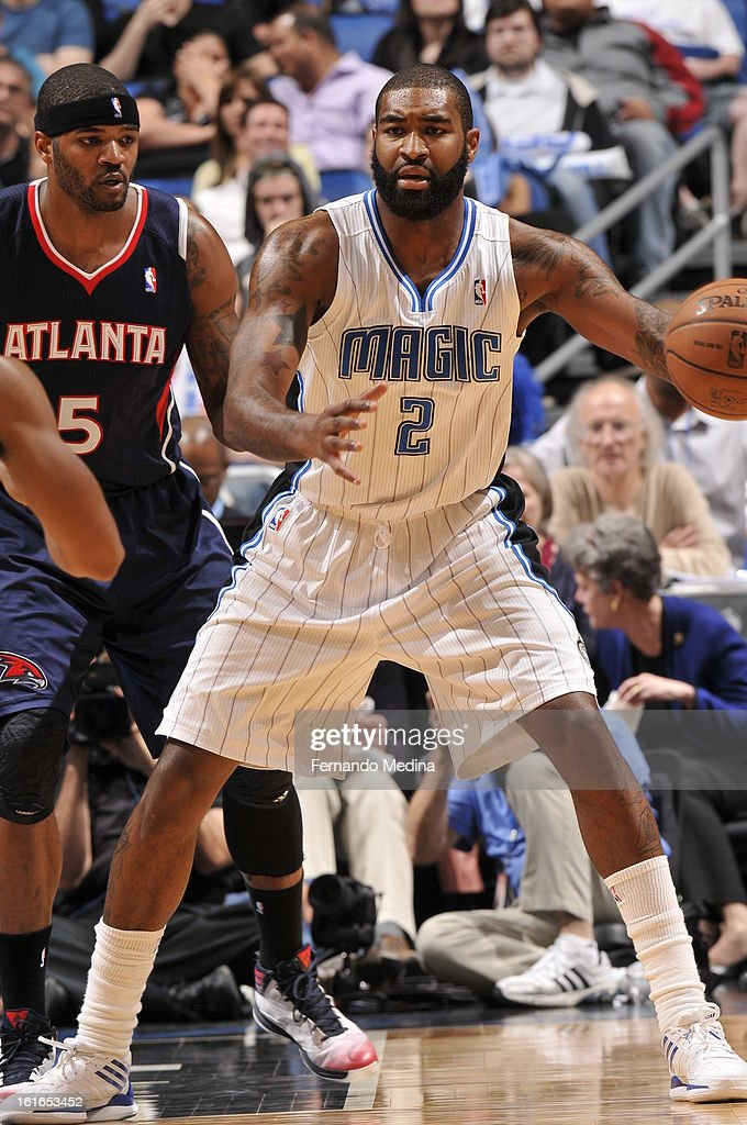 Kyle O'Quinn #2 of the Orlando Magic catches the ball and looks to pass against the Atlanta Hawks during the game on February 13, 2013 at Amway Center in Orlando, Florida.