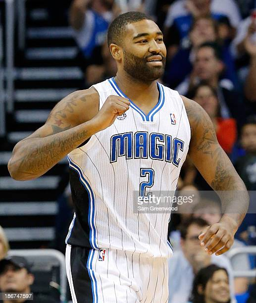 Kyle O'Quinn of the Orlando Magic celebrates during the game against the Brooklyn Nets at Amway Center on November 3 2013 in Orlando Florida NOTE TO...