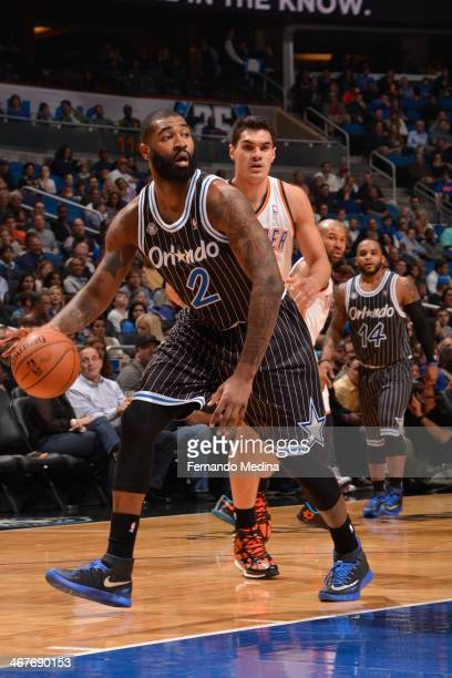 Kyle O'Quinn of the Orlando Magic dribbles the ball against the Oklahoma City Thunder during the game on February 7 2014 at Amway Center in Orlando...