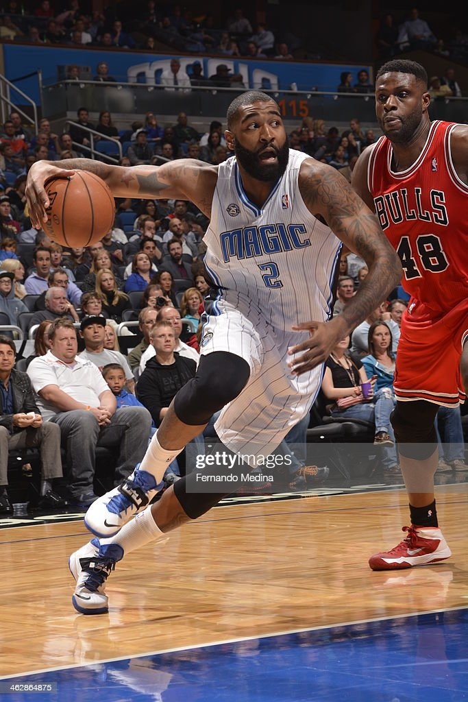 Kyle O'Quinn #2 of the Orlando Magic drives to the basket against the Chicago Bulls Bulls during the game on January 15, 2014 at Amway Center in Orlando, Florida.