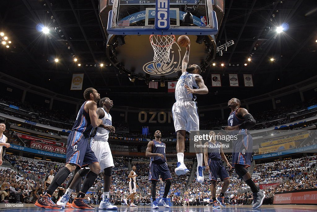 Kyle O'Quinn #2 of the Orlando Magic dunks against the Charlotte Bobcats on January 18, 2013 at Amway Center in Orlando, Florida.