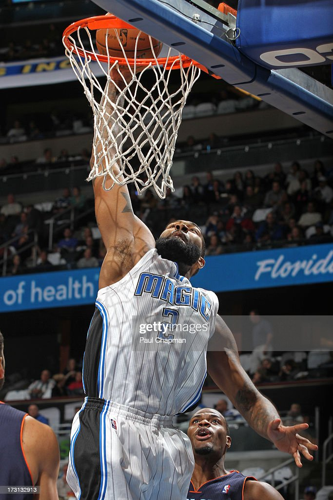 Kyle O'Quinn #2 of the Orlando Magic dunks during a game against the Charlotte Bobcats on January 18, 2013 at Amway Center in Orlando, Florida.