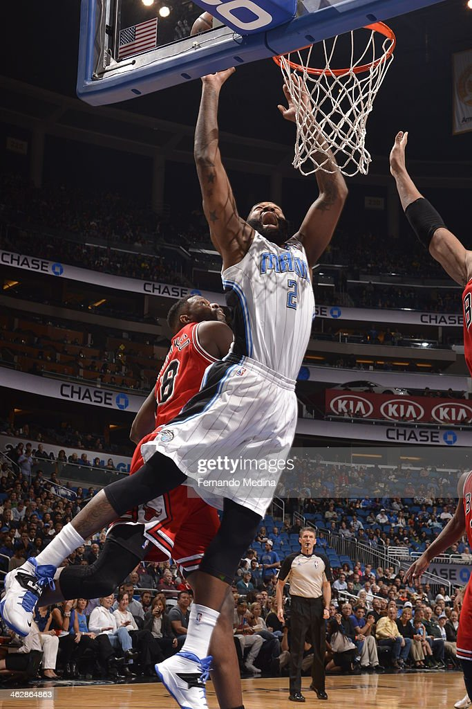Kyle O'Quinn #2 of the Orlando Magic goes up for the layup against the Chicago Bulls Bulls during the game on January 15, 2014 at Amway Center in Orlando, Florida.