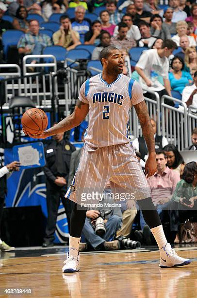 Kyle O'Quinn of the Orlando Magic handles the ball against the San Antonio Spurs on April 1 2015 at Amway Center in Orlando Florida NOTE TO USER User...