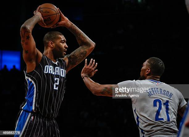 Kyle O'Quinn of the Orlando Magic in action against Cory Jefferson of the Brooklyn Nets during an NBA basketball game at the Barclays Center in the...