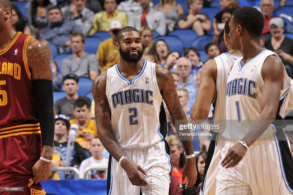 <a gi-track='captionPersonalityLinkClicked' href=/galleries/search?phrase=Kyle+O%27Quinn&family=editorial&specificpeople=9027719 ng-click='$event.stopPropagation()'>Kyle O'Quinn</a> #2 of the Orlando Magic smiles to teammate <a gi-track='captionPersonalityLinkClicked' href=/galleries/search?phrase=Doron+Lamb&family=editorial&specificpeople=7143029 ng-click='$event.stopPropagation()'>Doron Lamb</a> #1 during the game between the Cleveland Cavaliers and the Orlando Magic on February 23, 2013 at Amway Center in Orlando, Florida.