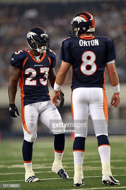 Kyle Orton and Willis McGahee of the Denver Broncos at Cowboys Stadium on August 11 2011 in Arlington Texas