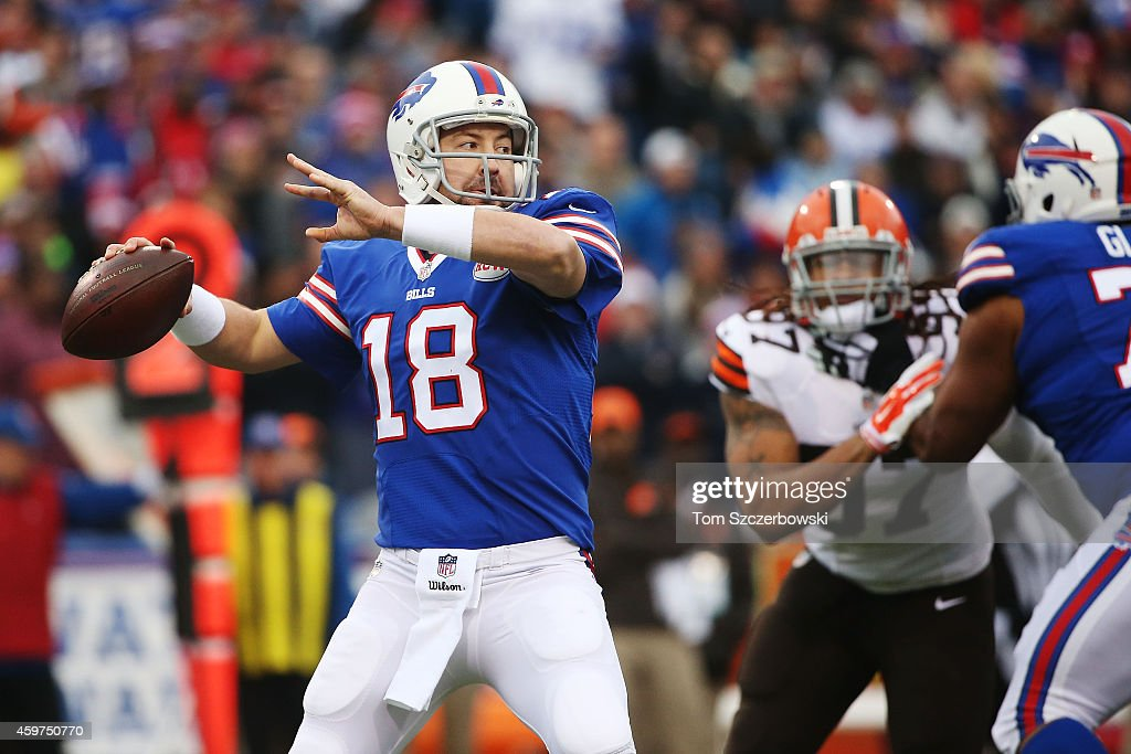 Kyle Orton #18 of the Buffalo Bills looks to throw against the Cleveland Browns during the first half at Ralph Wilson Stadium on November 30, 2014 in Orchard Park, New York.