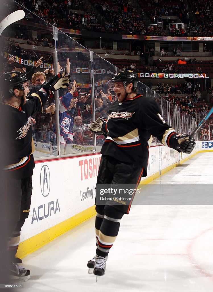 Kyle Palmieri #51 and <a gi-track='captionPersonalityLinkClicked' href=/galleries/search?phrase=Bobby+Ryan+-+Ice+Hockey+Player&family=editorial&specificpeople=877359 ng-click='$event.stopPropagation()'>Bobby Ryan</a> #9 of the Anaheim Ducks celebrate the win against the Minnesota Wild on February 1, 2013 at Honda Center in Anaheim, California.