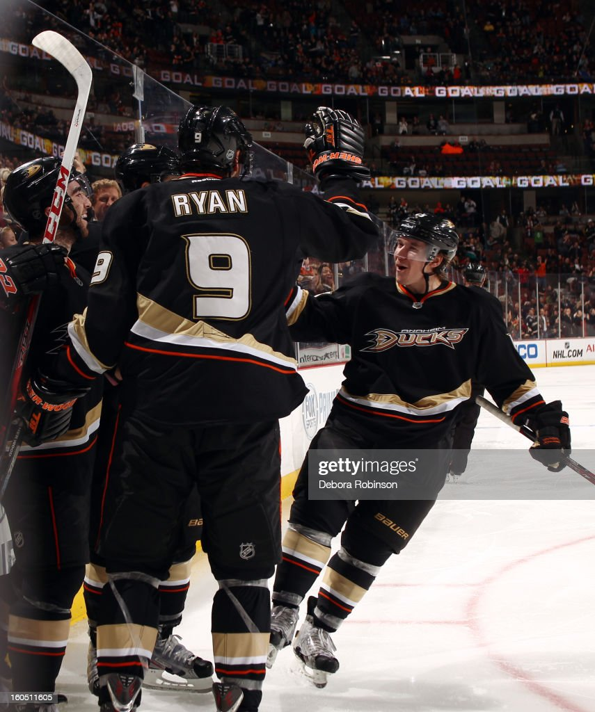 Kyle Palmieri #51, <a gi-track='captionPersonalityLinkClicked' href=/galleries/search?phrase=Bobby+Ryan+-+Ice+Hockey+Player&family=editorial&specificpeople=877359 ng-click='$event.stopPropagation()'>Bobby Ryan</a> #9 and Sami Vatanen #45 of the Anaheim Ducks celebrate the win against the Minnesota Wild on February 1, 2013 at Honda Center in Anaheim, California.