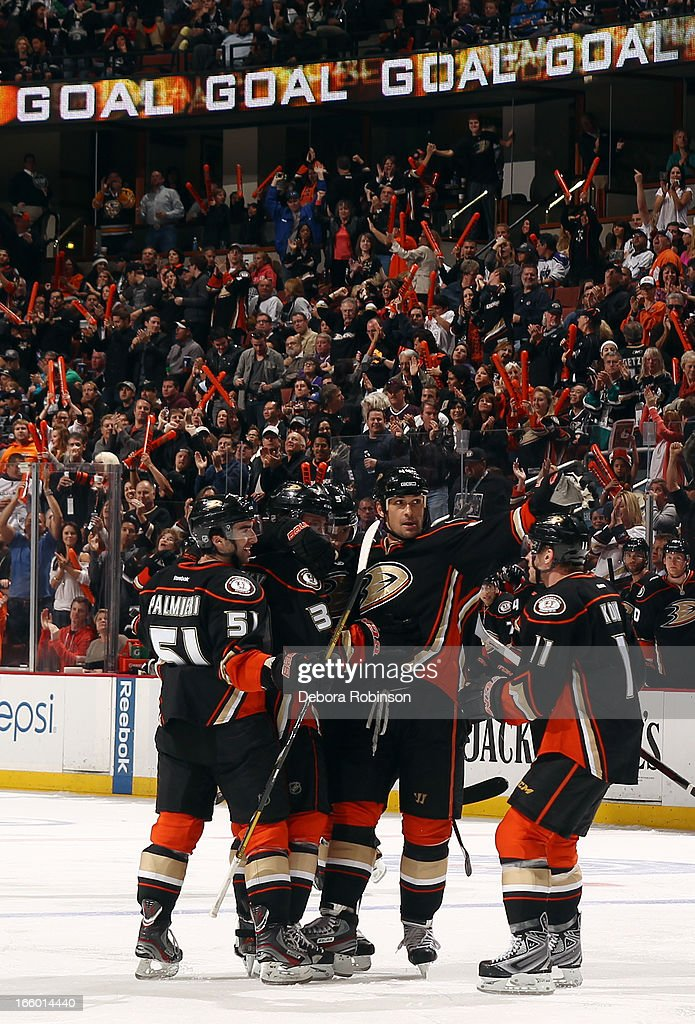 Kyle Palmieri #51, <a gi-track='captionPersonalityLinkClicked' href=/galleries/search?phrase=Matt+Beleskey&family=editorial&specificpeople=570471 ng-click='$event.stopPropagation()'>Matt Beleskey</a> #39, <a gi-track='captionPersonalityLinkClicked' href=/galleries/search?phrase=Luca+Sbisa&family=editorial&specificpeople=4893043 ng-click='$event.stopPropagation()'>Luca Sbisa</a> #5, <a gi-track='captionPersonalityLinkClicked' href=/galleries/search?phrase=Sheldon+Souray&family=editorial&specificpeople=203131 ng-click='$event.stopPropagation()'>Sheldon Souray</a> #44 and <a gi-track='captionPersonalityLinkClicked' href=/galleries/search?phrase=Saku+Koivu&family=editorial&specificpeople=202253 ng-click='$event.stopPropagation()'>Saku Koivu</a> #11 of the Anaheim Ducks celebrate a goal scored during the game against the Los Angeles Kings on April 7, 2013 at Honda Center in Anaheim, California.