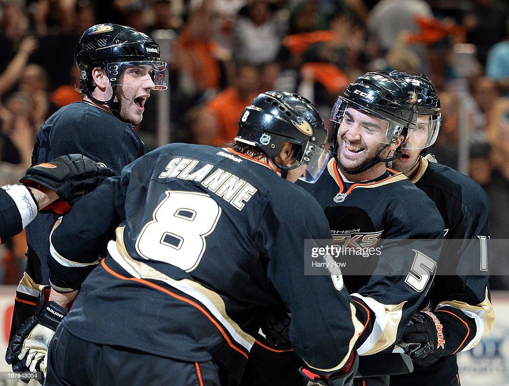 Kyle Palmieri #51 of the Anaheim Ducks celebrates his goal with Bobby Ryan #9, Teemu Selanne #8 and Nick Bonino #13 to trail 4-3 to the Detroit Red Wings during the third period in Game Two of the Western Conference Quarterfinals during the 2013 Stanley Cup Playoffs at Honda Center on May 2, 2013 in Anaheim, California.