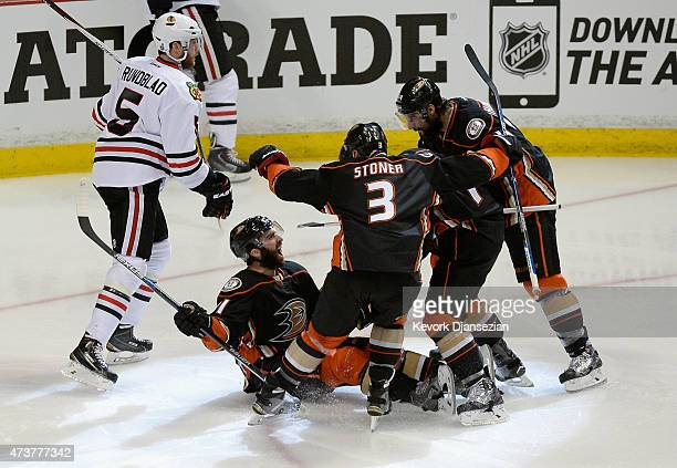 Kyle Palmieri of the Anaheim Ducks celebrates his second period goal with teammates in Game One of the Western Conference Finals against the Chicago...