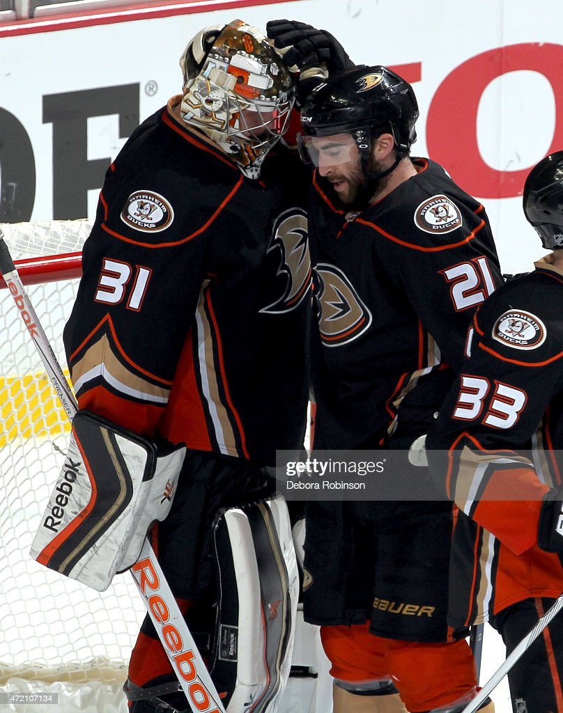 Kyle Palmieri #21 of the Anaheim Ducks celebrates with goalie Frederik Andersen #31 after defeating the Calgary Flames 3-0 in Game Two of the Western Conference Semifinals during the 2015 NHL Stanley Cup Playoffs at Honda Center on May 3, 2015 in Anaheim, California.