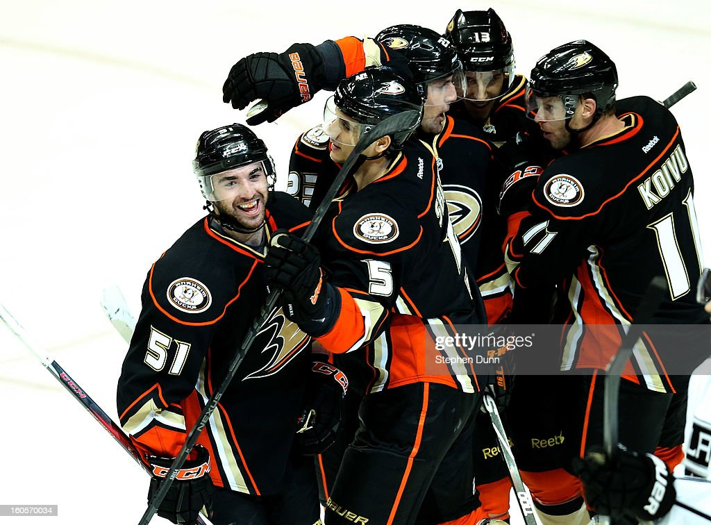 Kyle Palmieri #51 of the Anaheim Ducks celebrates with teammates after scoring a second period goal against the Los Angeles Kings at Honda Center on February 2, 2013 in Anaheim, California.