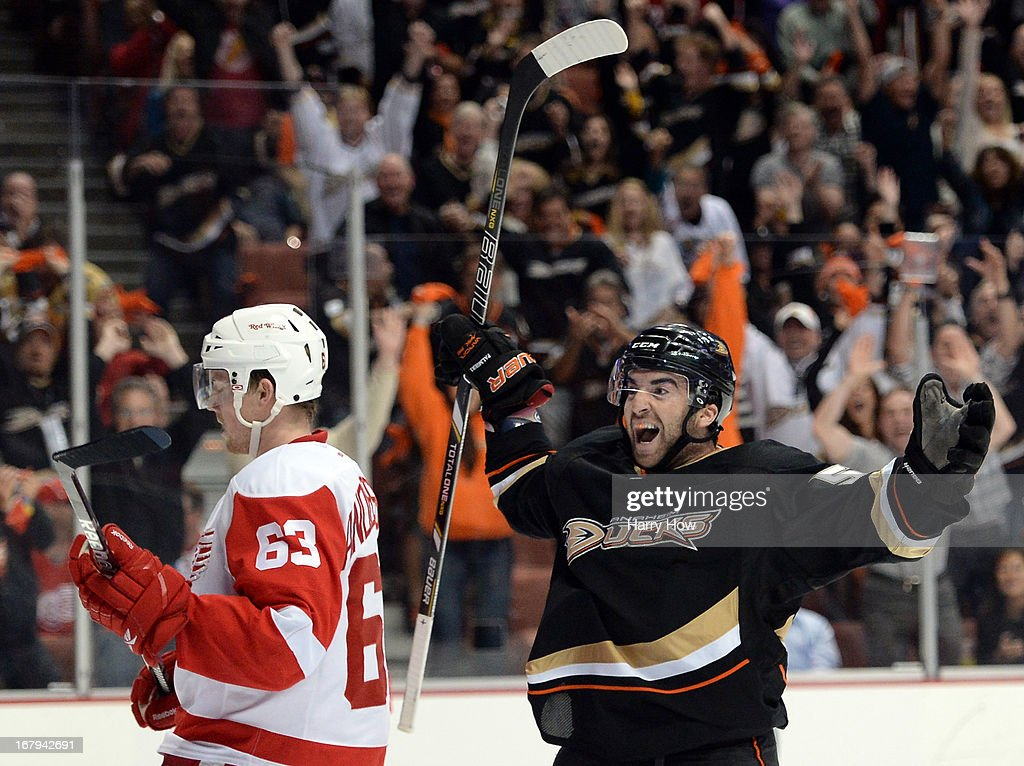 Kyle Palmieri #51 of the Anaheim Ducks reacts to his goal to trail 4-3 in front of Joakim Andersson #63 of the Detroit Red Wings during the third period in Game Two of the Western Conference Quarterfinals during the 2013 Stanley Cup Playoffs at Honda Center on May 2, 2013 in Anaheim, California.