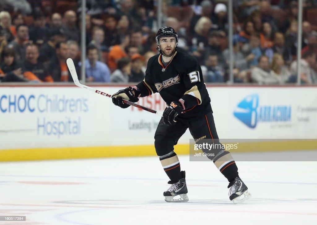 Kyle Palmieri #51 of the Anaheim Ducks skates against the Minnesota Wild at Honda Center on February 1, 2013 in Anaheim, California.