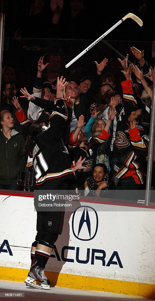 Kyle Palmieri #51 of the Anaheim Ducks tosses his game stick to the fans after the game against the Nashville Predators on February 27, 2013 at Honda Center in Anaheim, California. Palmieri recorded his first career hat trick in a 5-1 win over the Predators.