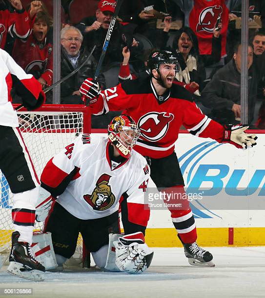 Kyle Palmieri of the New Jersey Devils celebrates his goal at 757 of the first period against Craig Anderson of the Ottawa Senators at the Prudential...