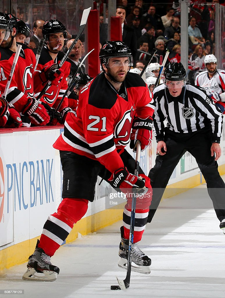 <a gi-track='captionPersonalityLinkClicked' href=/galleries/search?phrase=Kyle+Palmieri&family=editorial&specificpeople=4783296 ng-click='$event.stopPropagation()'>Kyle Palmieri</a> #21 of the New Jersey Devils takes the puck in the overtime period against the Washington Capitals on February 6, 2016 at Prudential Center in Newark, New Jersey.The Washington Capitals defeated the New Jersey Devils 3-2 in an overtime shootout.