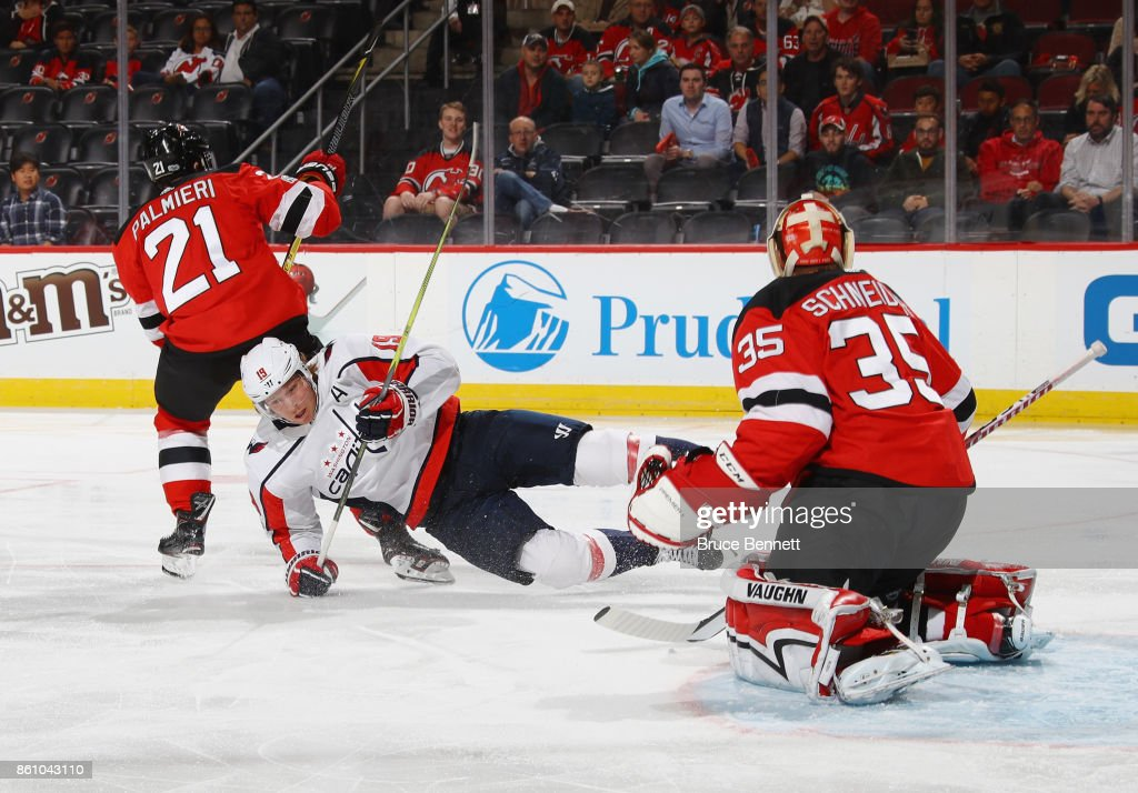 ba27c8e86 ... White Away NHL Jersey Anaheim Ducks Premier Third Jersey Kyle Palmieri  21 of the New Jersey Devils trips up Nicklas Backstrom 19 of ...