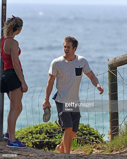 Kyle Pryor and Penny McNamee filming Home and Away on February 9 2016 in Sydney Australia