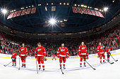 Kyle Quincey Justin Abdelkader Henrik Zetterberg Danny DeKeyser and Pavel Datsyuk of the Detroit Red Wings line up for the national anthem during a...