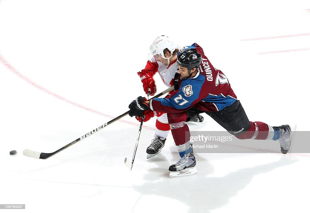 <a gi-track='captionPersonalityLinkClicked' href=/galleries/search?phrase=Kyle+Quincey&family=editorial&specificpeople=2234340 ng-click='$event.stopPropagation()'>Kyle Quincey</a> #27 of the Colorado Avalanche skates against the Detroit Red Wings at the Pepsi Center on October 8, 2011 in Denver, Colorado. Detroit beat Colorado 3-0.