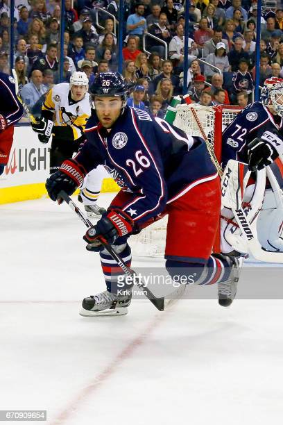 Kyle Quincey of the Columbus Blue Jackets skates after the puck in Game Four of the Eastern Conference First Round during the 2017 NHL Stanley Cup...