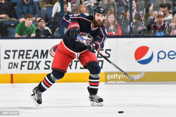 Kyle Quincey of the Columbus Blue Jackets skates against the Philadelphia Flyers on March 25 2017 at Nationwide Arena in Columbus Ohio